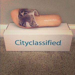 Cityclassified Shoes - City Classified Snakeskin Slides